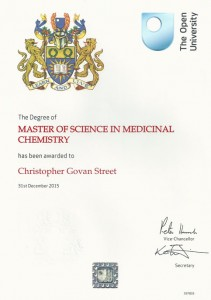 Chris Street was awarded a Master of Science degree in December 2015.